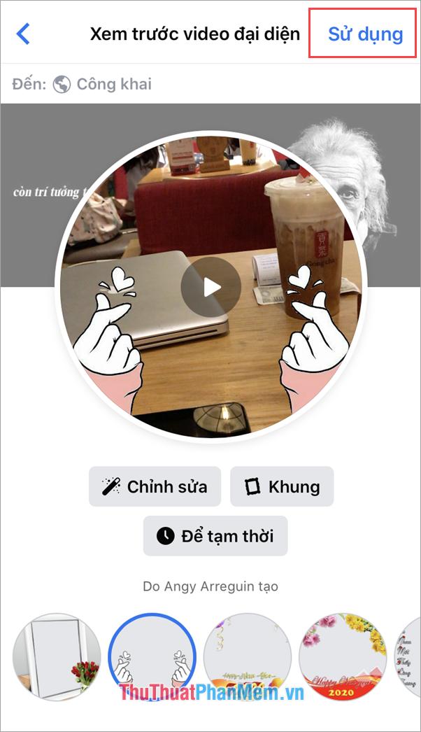 Chọn Sử dụng để đặt Video làm Avatar cho Facebook