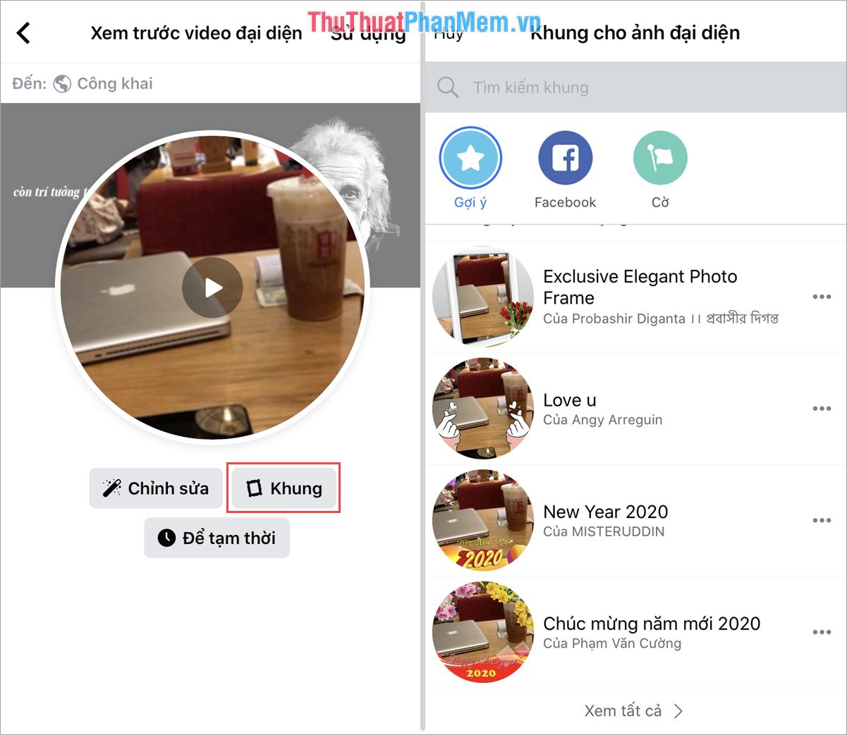 Chọn thẻ Khung để chọn khung ảnh cho Video thêm sống động và đẹp hơn