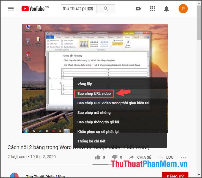 Chọn Sao chép URL video