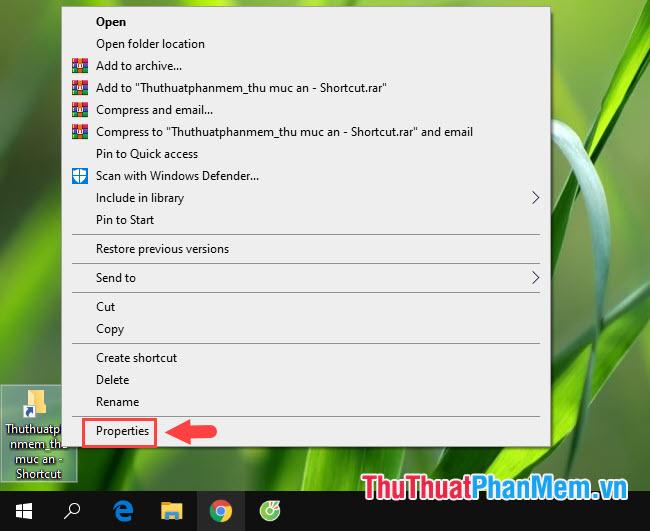Click chuột phải vào icon thư mục, shortcut cần thay đổi và chọn Properties