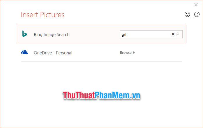 Các bạn có thể chọn cách chèn ảnh từ trên Bing hoặc OneDrive