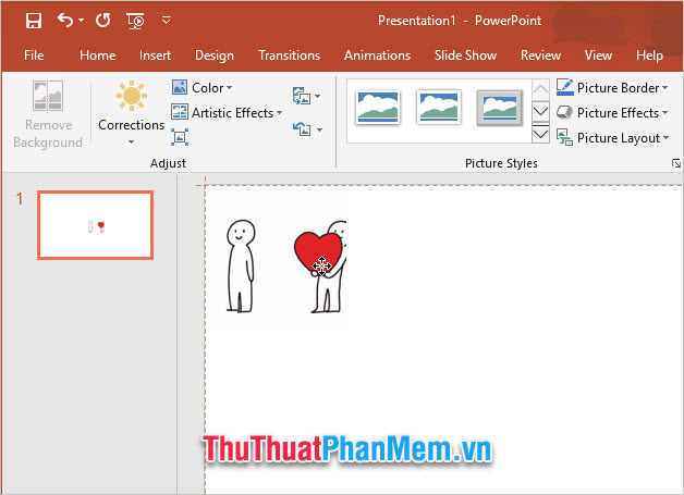 Sau khi bức ảnh được chèn xong, các bạn có thể di chuyển nó đến vị trí phù hợp trong slide của PowerPoint