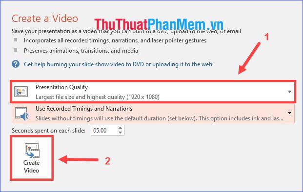 Chọn chất lượng cho video rồi click vào Create Video