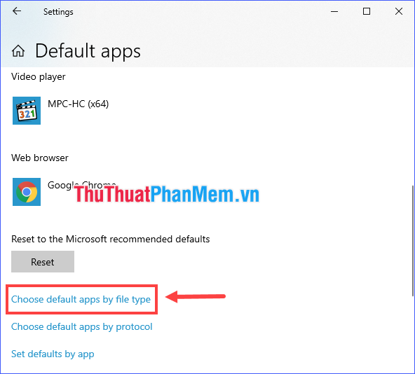 Chọn Choose default apps by file type