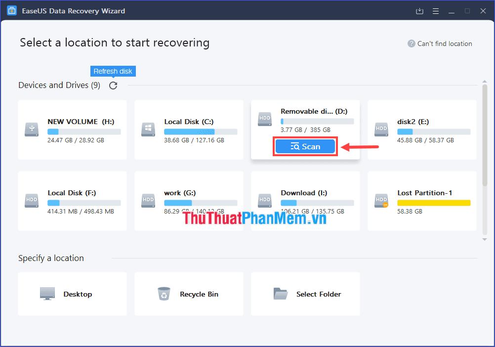 Đưa con trỏ chuột lên phân vùng bạn muốn khôi phục file bị ẩn, rồi click vào Scan