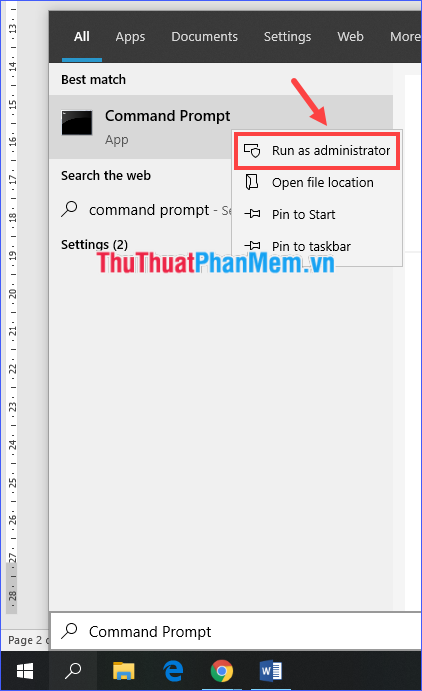Mở Command Prompt với quyền Administrator