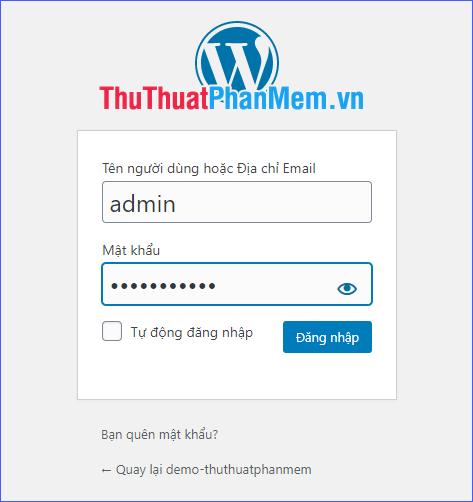 Nhập tên tài khoản và mật khẩu