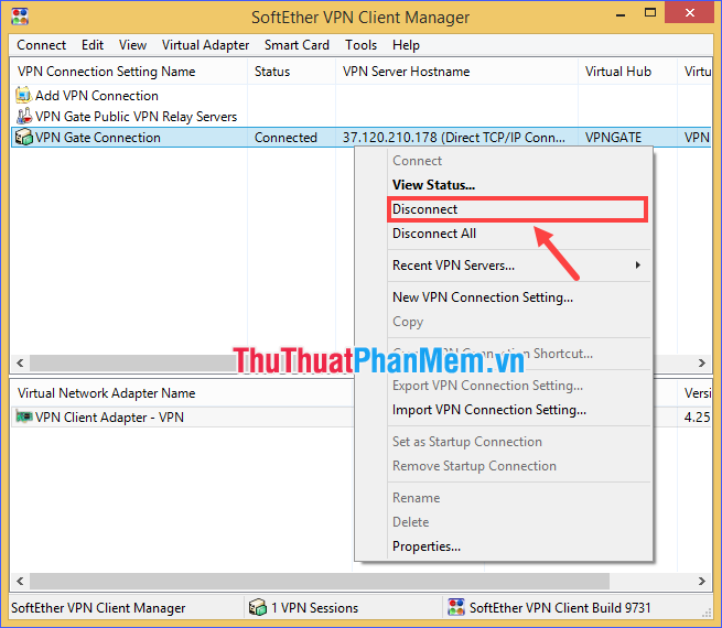 Click chuột phải vào dòng VPN Gate Connection rồi chọn Disconnect (hoặc Disconnect All)