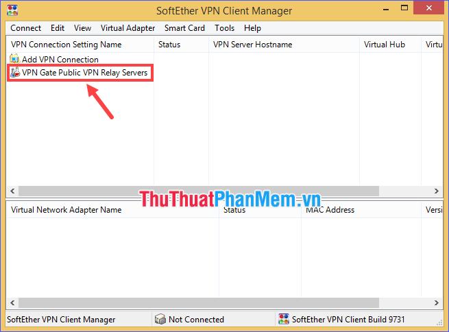 Click đúp vào VPN Gate Public VPN Relay Servers