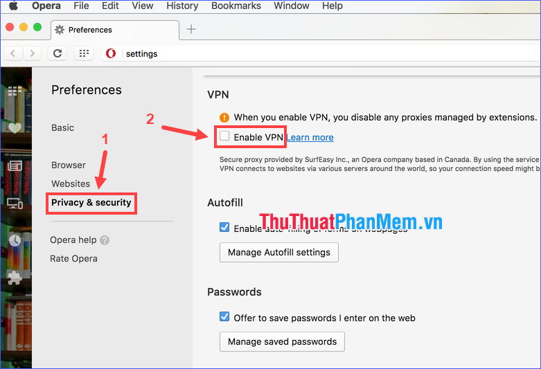 Click vào Enable VPN để bật tính năng này