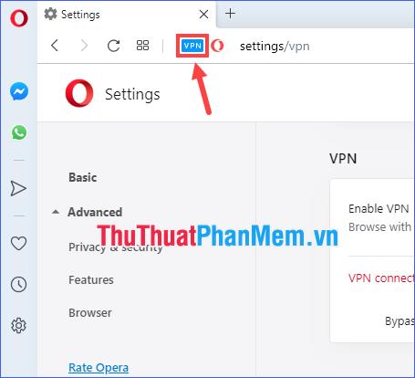 Click vào VPN để chọn vị trí ảo của bạn và xem lại lưu lượng dữ liệu đã sử dụng