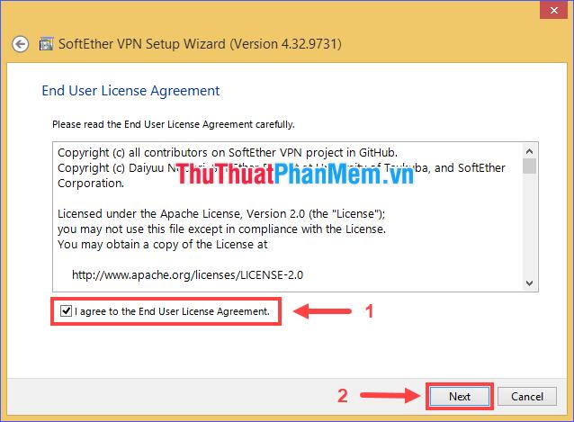 Đánh dấu ô I agree to the End User License Agreement rồi ấn Next