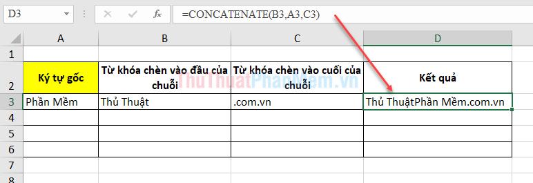 Bảng dữ liệu cần chèn thêm ký tự A vào đầu ký tự Z vào cuối chuỗi