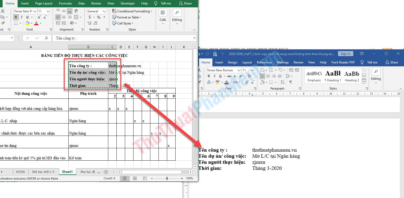 Cách copy từ Excel sang Word không kèm theo khung