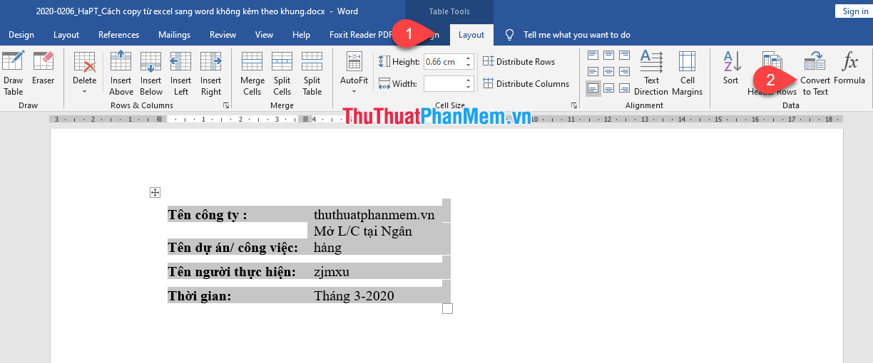 Chọn Table to text
