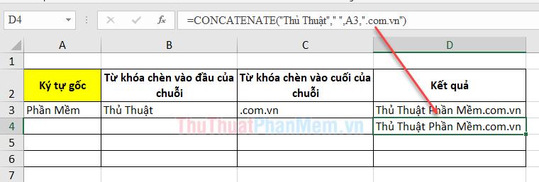 Sử dụng đối số hàm CONCATENATE dạng text