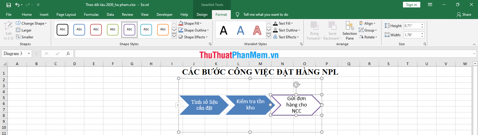 Thẻ Format để thay đổi định dạng chữ, viền khung, và hình dạng của khung