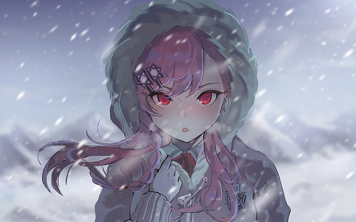Hình ảnh anime girl tuyết rơi