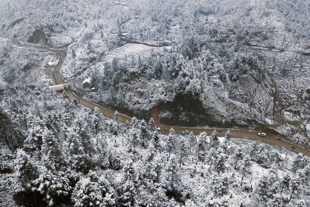 Hình ảnh thành phố tuyết rơi