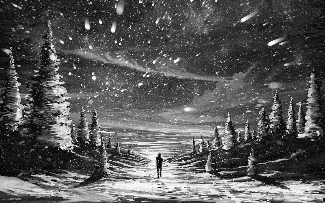 Hình ảnh tuyết rơi buồn, cô đơn