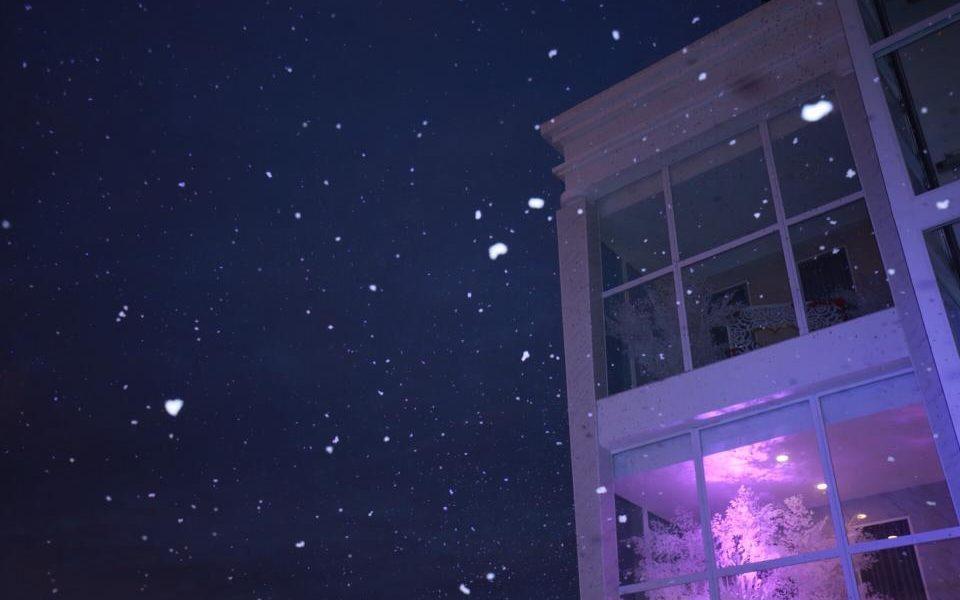 Hình ảnh tuyết rơi đêm