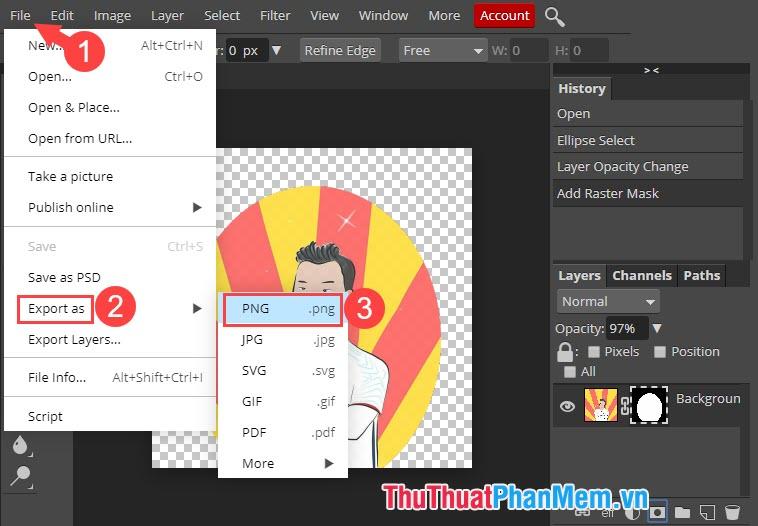 Chọn định dạng PNG để xuất file ảnh và lưu về máy