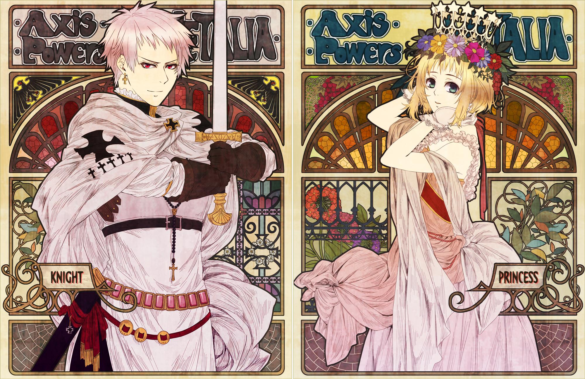 Hình ảnh anime cô công chúa tóc vàng và chàng hoàng tử tóc hồng