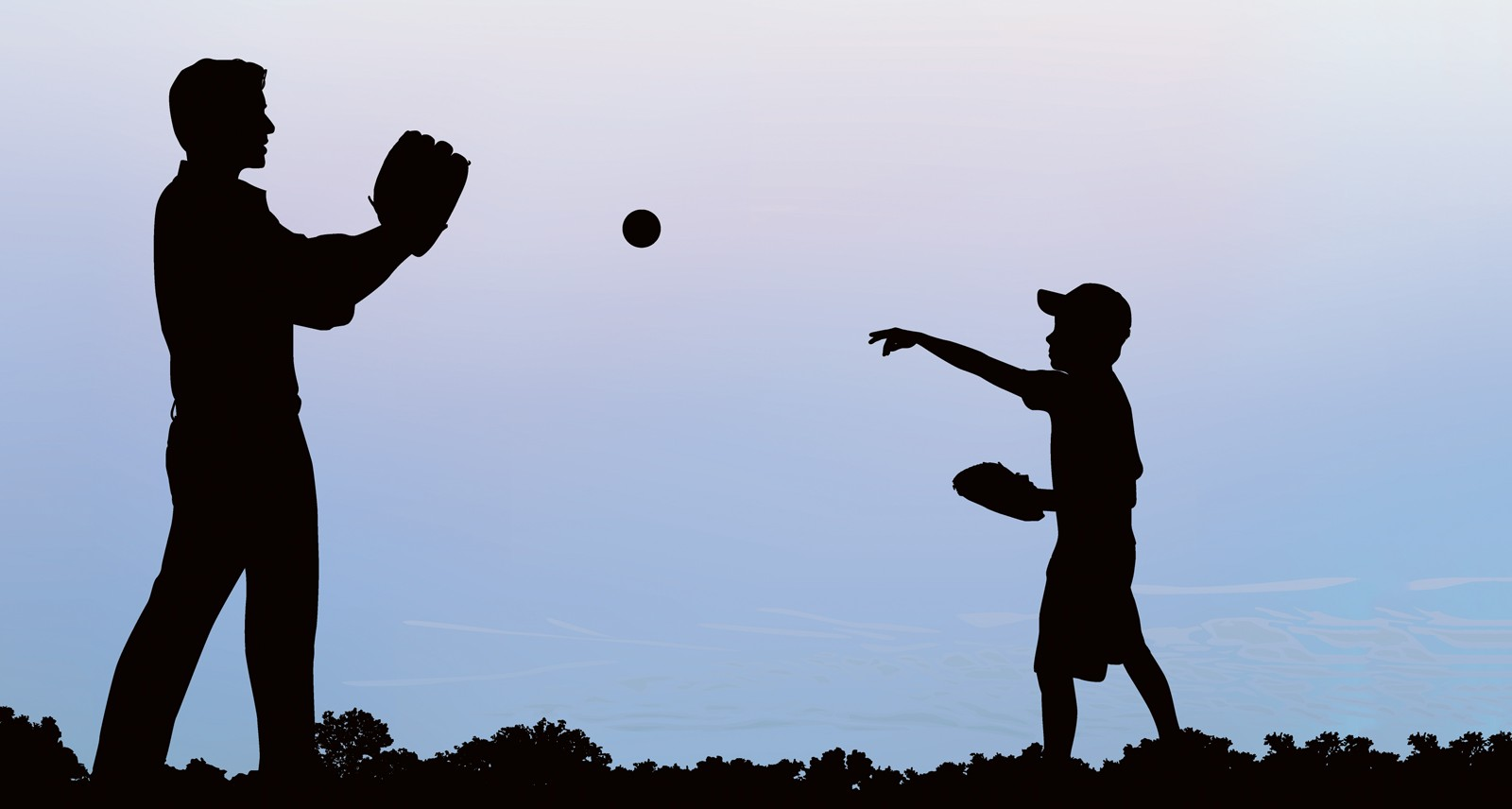 Hình ảnh cha và con cùng chơi bóng chày