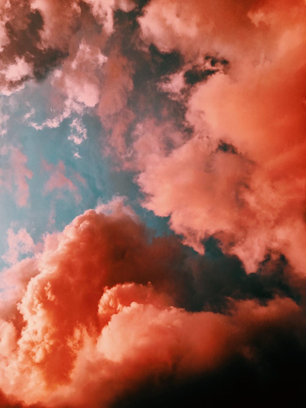 Hình ảnh mây trời màu đỏ cam cực đẹp