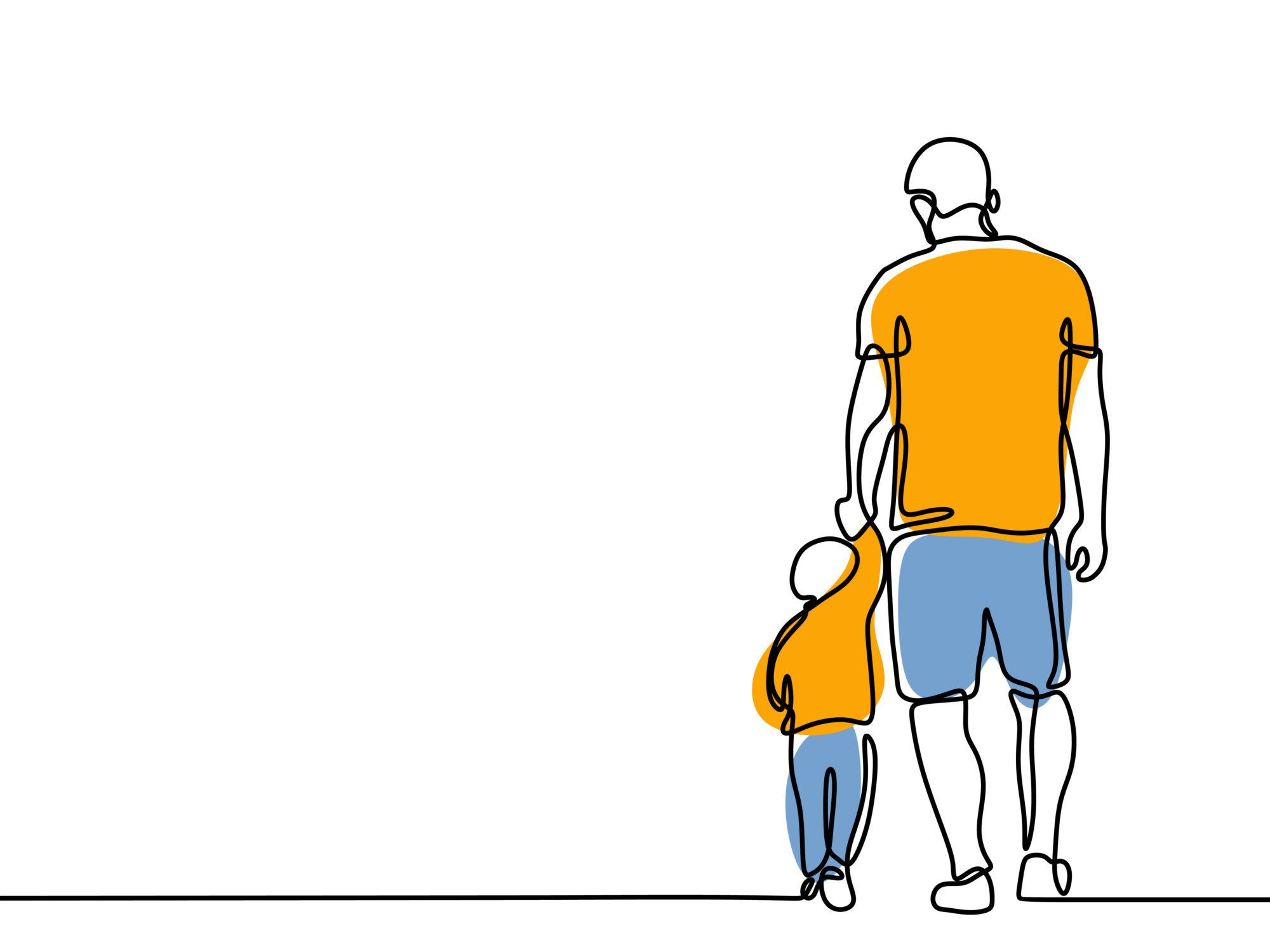 Hình tranh vẽ người cha và con dắt tay nhau đi