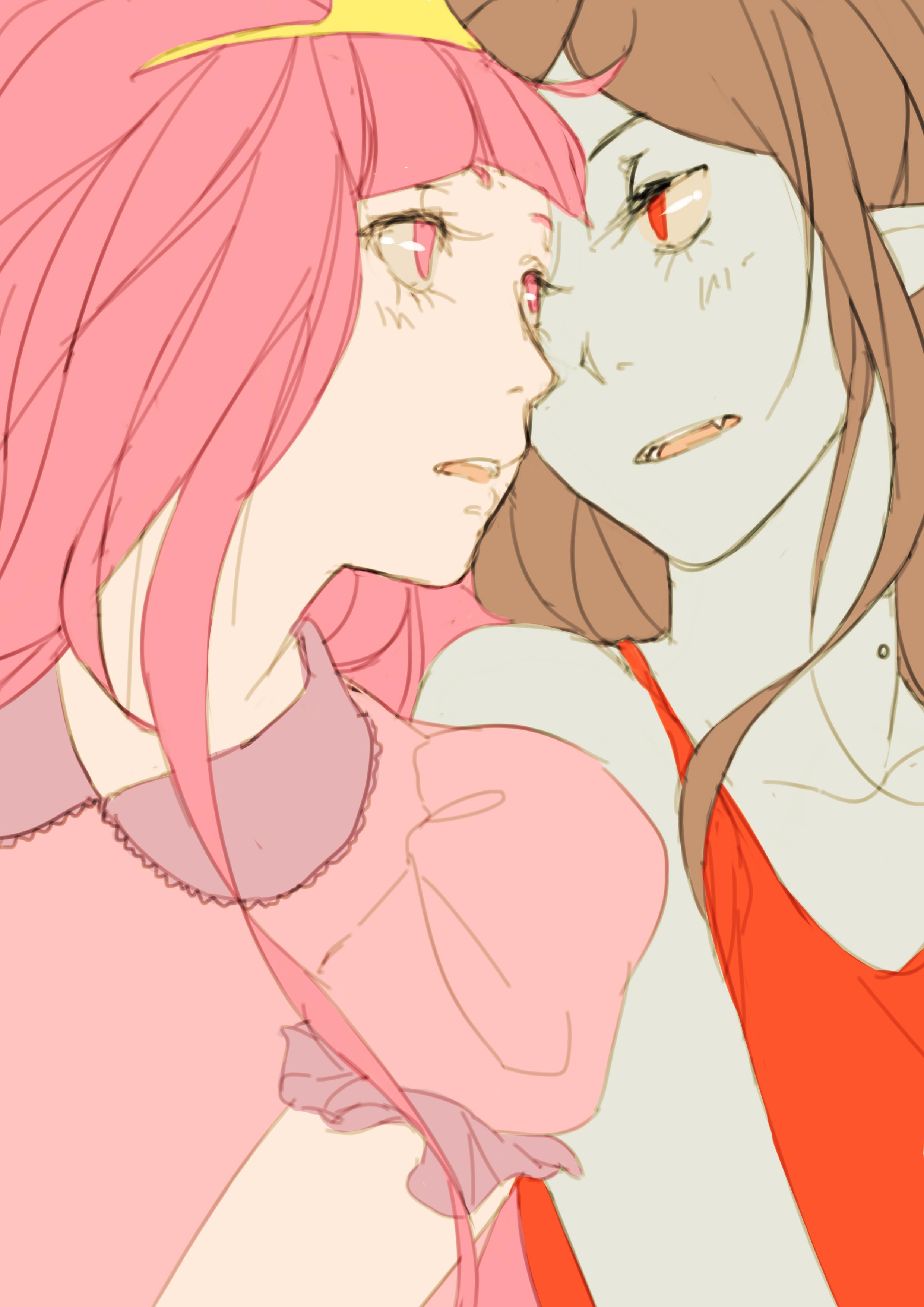 Tranh anime cô công chúa tóc hồng