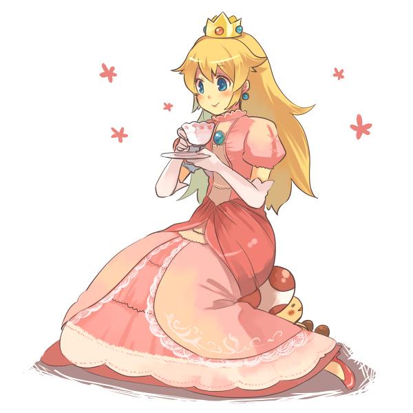 Tranh anime cô công chúa tóc vàng đang uống trà
