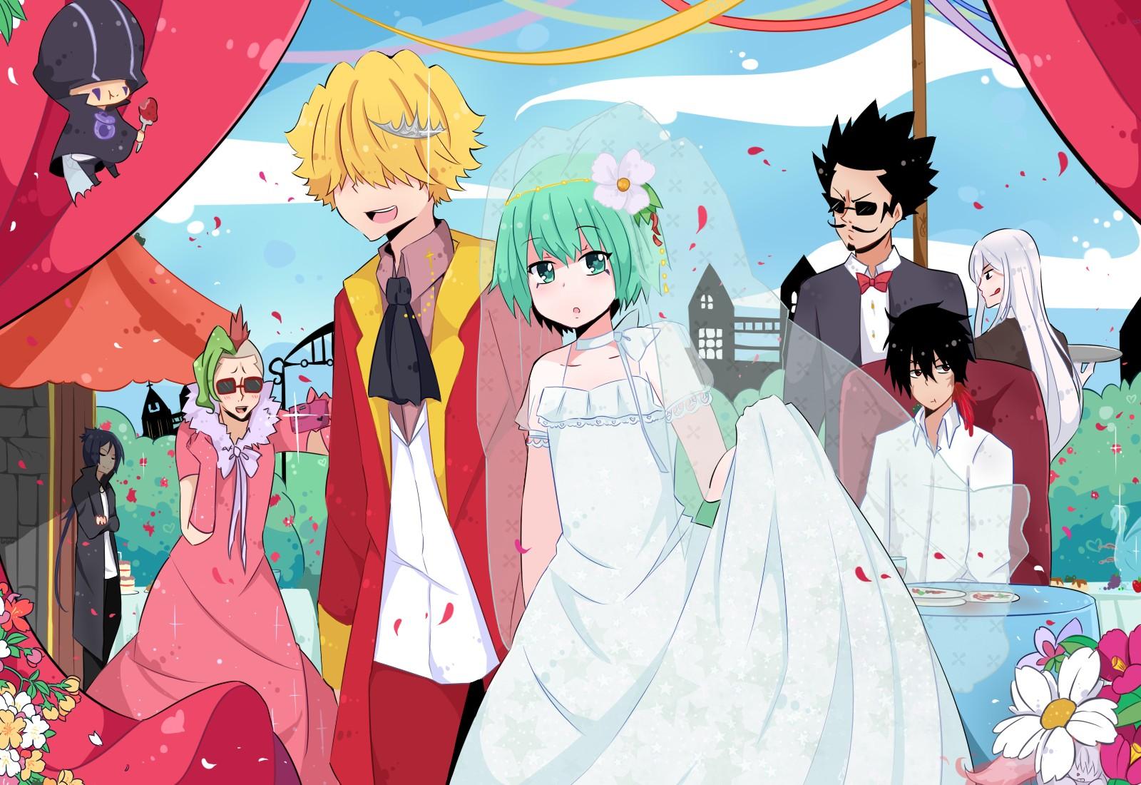 Tranh anime cô công chúa tóc xanh, kết hôn với quàng tử thì dĩ nhiên trở thành công chúa rồi
