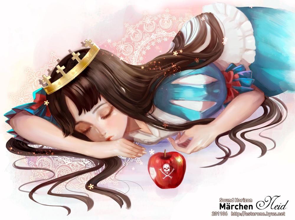 Tranh anime công chúa Bạch Tuyết ngủ say bên táo độc