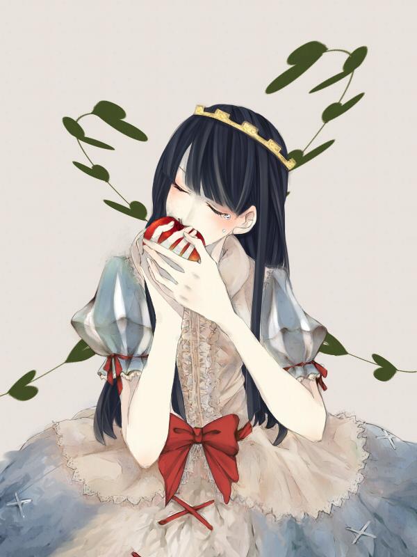 Tranh anime công chúa Snow White xinh đẹp đang ăn táo