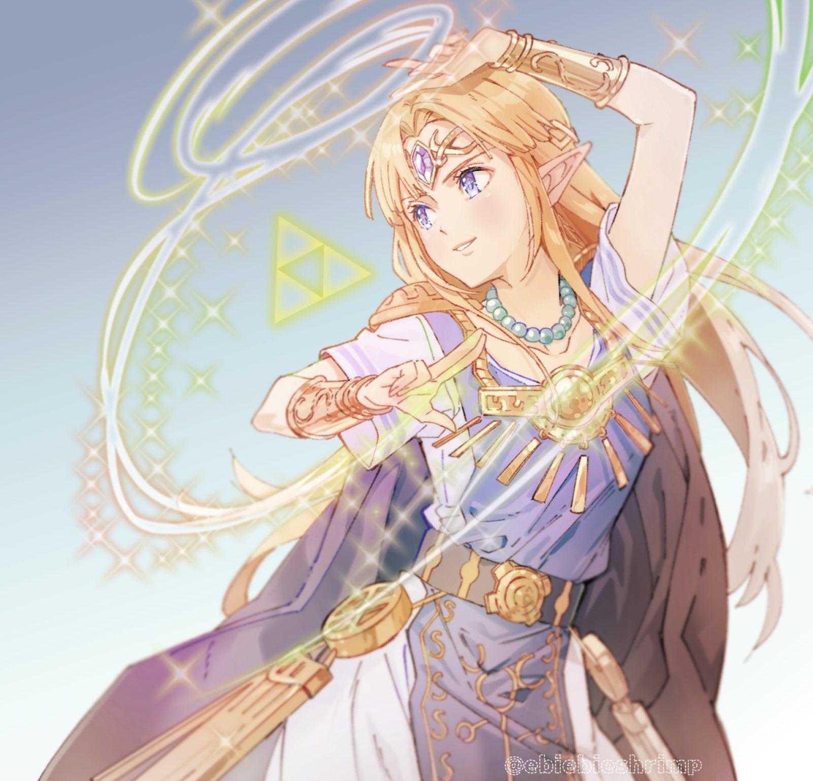 Tranh vẽ anime cô công chúa tóc vàng phép thuật