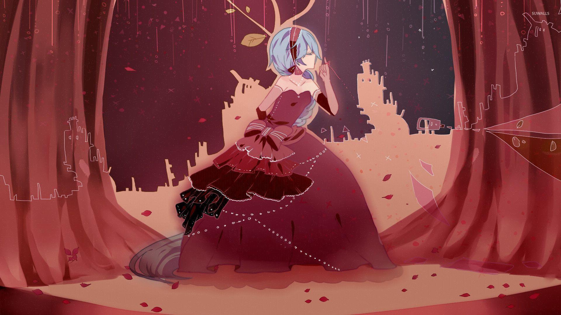 Tranh vẽ cô công chúa tóc xanh váy đỏ cực xinh