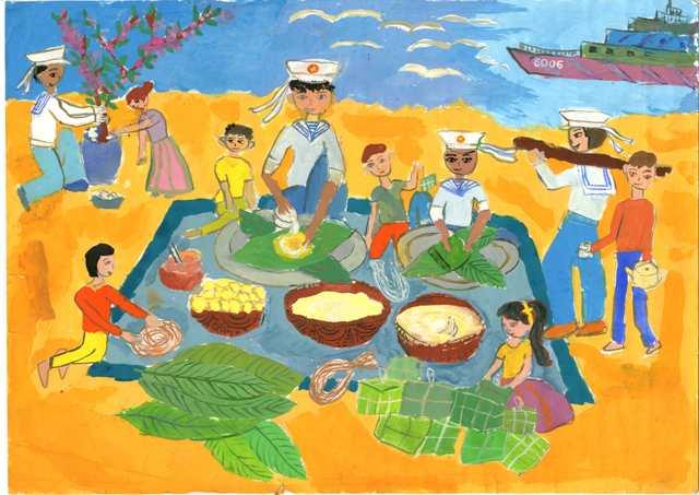 Bức tranh ngày tết của các chú bộ đội hải quân