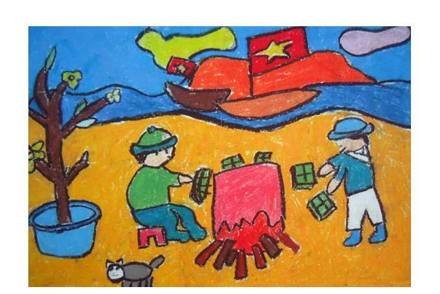 Bức tranh ngày tết của các chú bộ đội