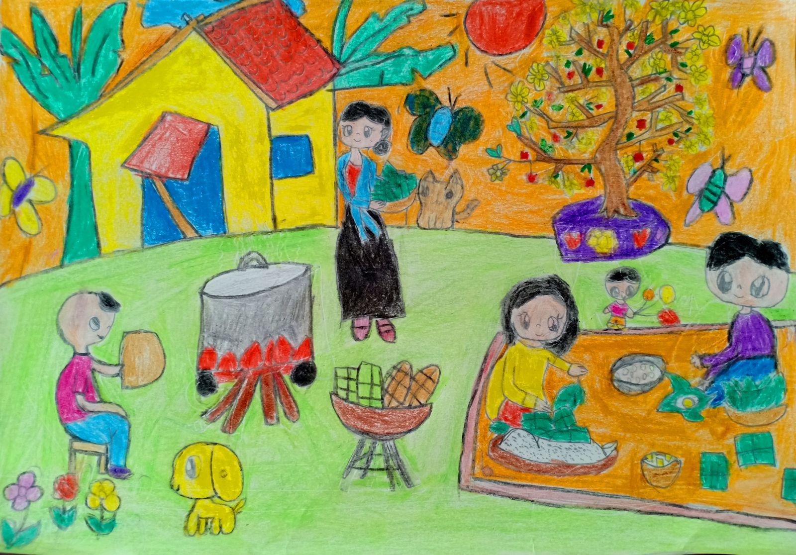 Bức tranh vẽ về hoạt động ngày tết