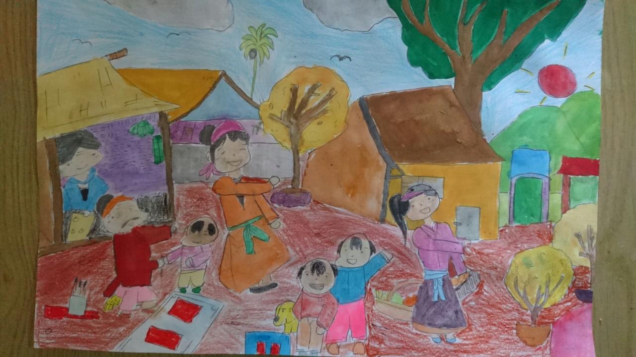 Bức tranh vẽ về ngày tết