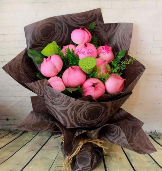 Cách cắm và bó hoa sen thành bó cực đẹp