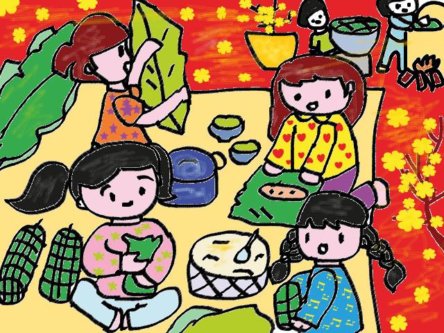 Tranh vẽ ngày tết của học sinh