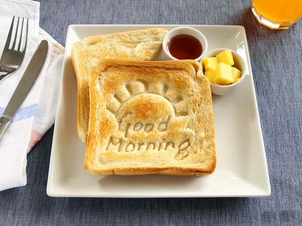 Hình ảnh bữa sáng với lời chúc ngày mới tốt lành