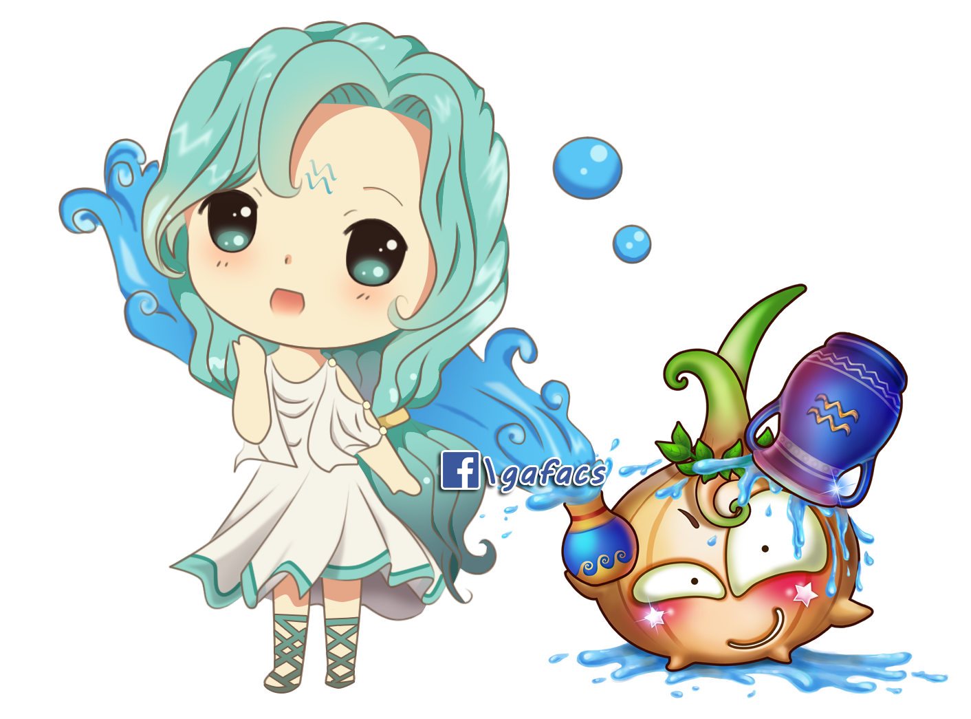 Hình ảnh Chibi 12 cũng hoàng đạo dễ thương nhất - Cung Thủy bình