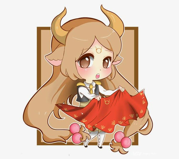 Hình ảnh cung Kim Ngưu Aries Chibi Cute