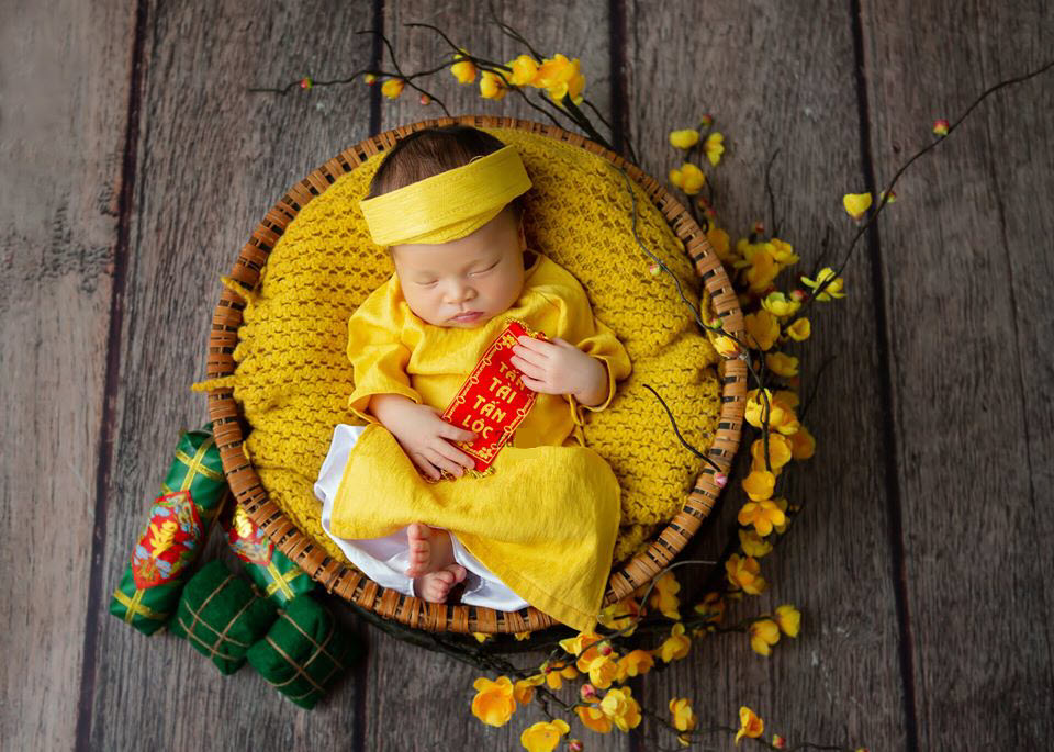 Hình ảnh em bé sơ sinh bên mai vàng