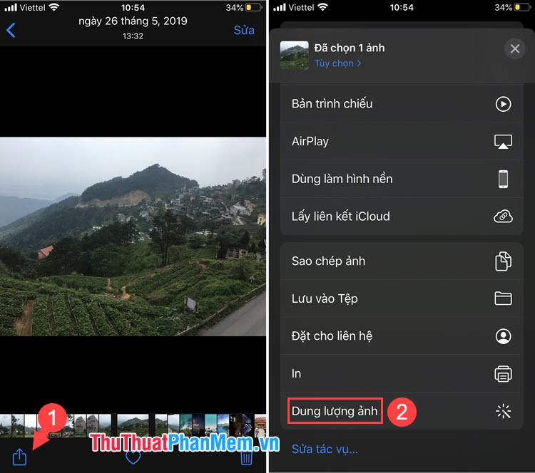 Chọn Shortcut Dung lượng ảnh
