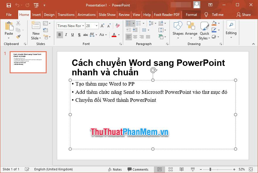 Kết quả các bạn sẽ nhận được file PowerPoint chứa nội dung đã soạn thảo trong văn bản Word