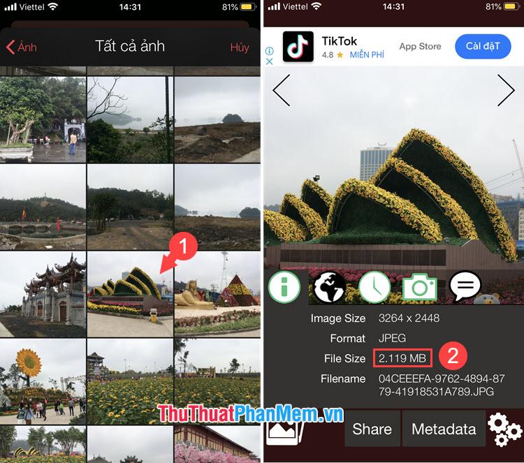 Ví dụ với bức ảnh Nhà hát Opera và thông tin về dung lượng bức ảnh được hiển thị ở phần File Size